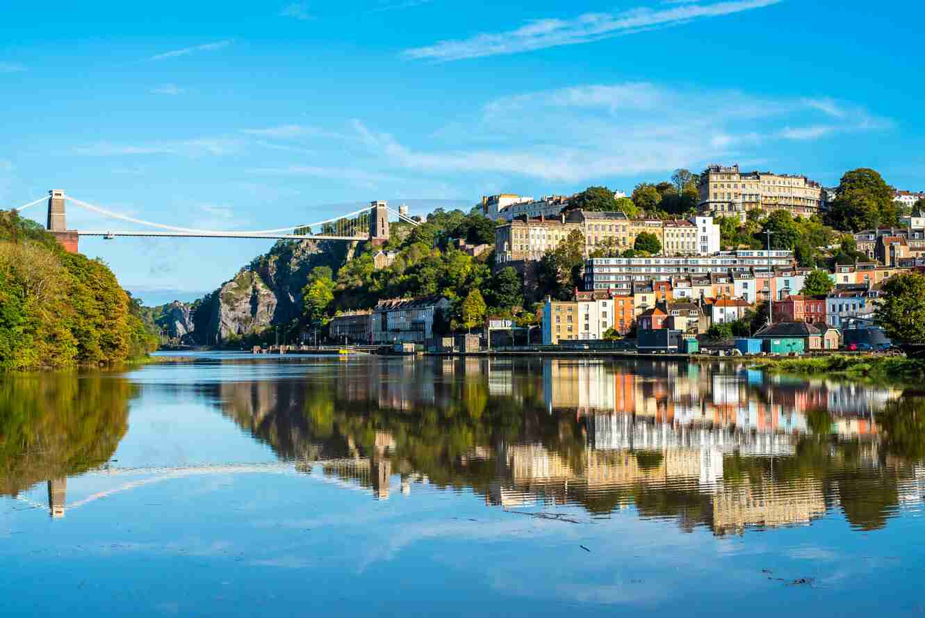 Clifton,Suspension,Bridge,With,Clifton,And,Reflection,,Bristol,Uk
